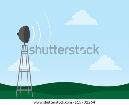 Transmission tower in field with signal waves