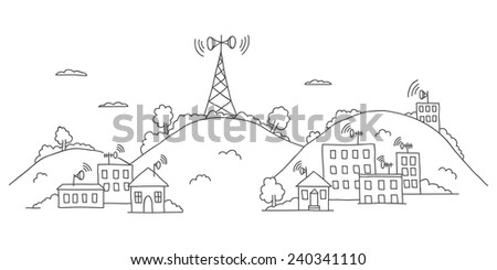 Transmission tower on landscape with wireless signal waves - stock vector