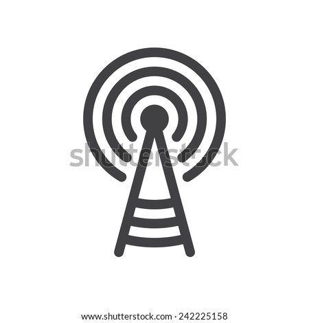 Transmitter tower icon (flat design) - stock vector