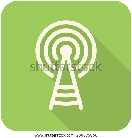 Transmitter tower icon (flat design with long shadows) - stock vector