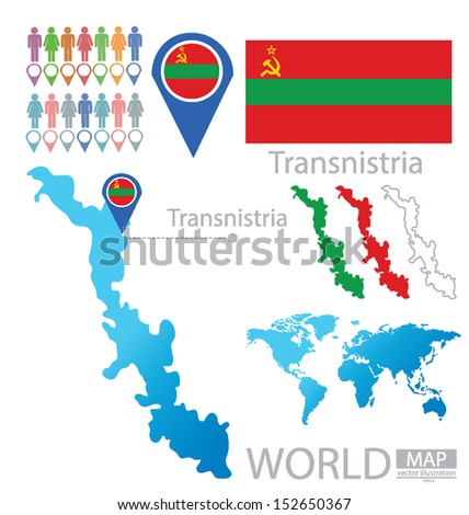 Transnistria. Pridnestrovian Moldavian Republic. flag. World Map vector Illustration.