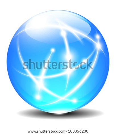 Transparent abstract colored ball Communication Internet Globe - stock vector