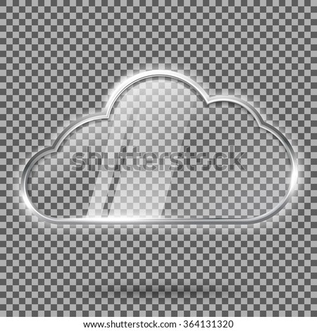 Transparent abstract hi tech glossy glass and metal shiny speech bubble . With place for your text. Vector - stock vector