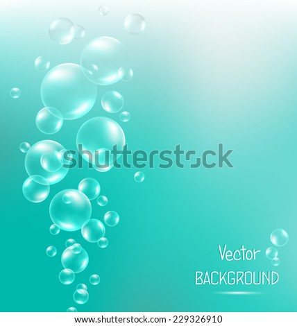 Transparent air bubbles in water on cyan background - stock vector