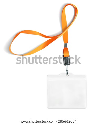 Transparent badge with ribbon on white background