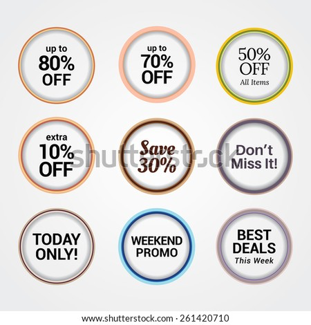 Transparent Badges in 9 Styles. Every badges have different layout.  - stock vector