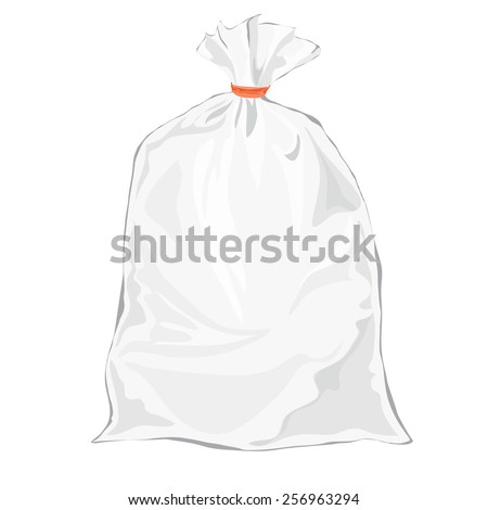 Transparent bag for package design. Vector. Plastic packaging. Blank white bag with place for your design. Sketch style - stock vector