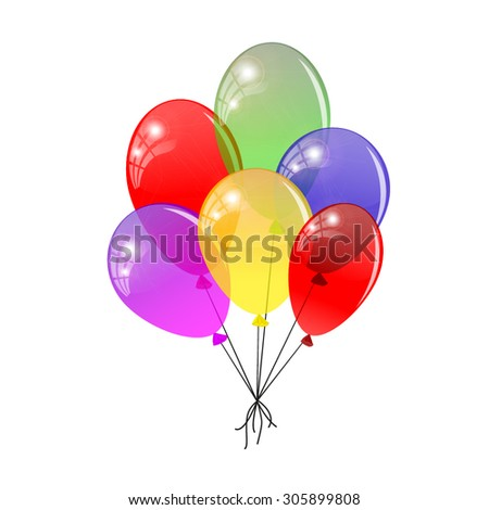 Transparent balloons. Multicolored balloons gathered in a bunch. Vector illustration - stock vector