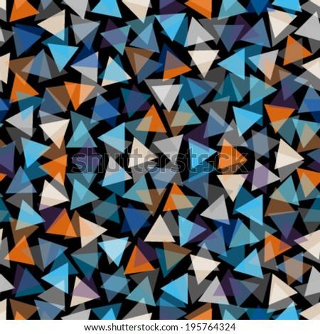 transparent blue, orange, brown triangles on dark black seamless pattern - stock vector