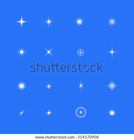 Transparent bright glowing, glittering, shining lights, sparkles, stars collection on blue sky, vector illustration - stock vector