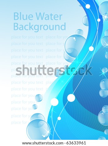 Transparent bubbles on an abstract water background - stock vector