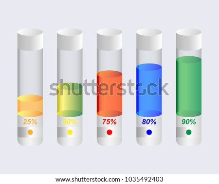 transparent bulb with various different colored liquid