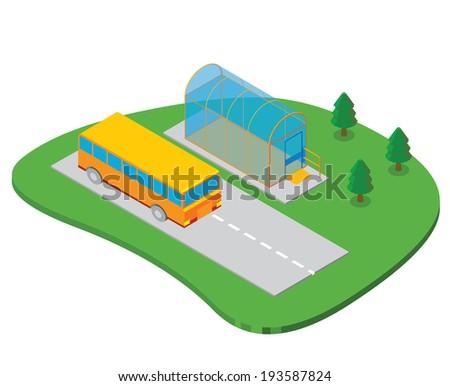 transparent bus shelter - stock vector
