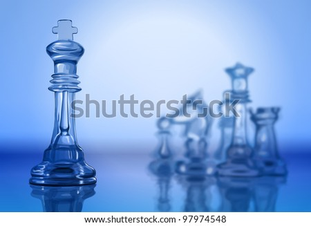 transparent chess pieces on the mirror surface and a blue background - vector illustration / eps10 - stock vector