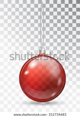 Transparent Christmas Ball Glass Tree Toy Red Isolated Elements Of