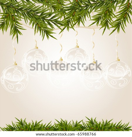 transparent Christmas ball on new year tree, vector illustration