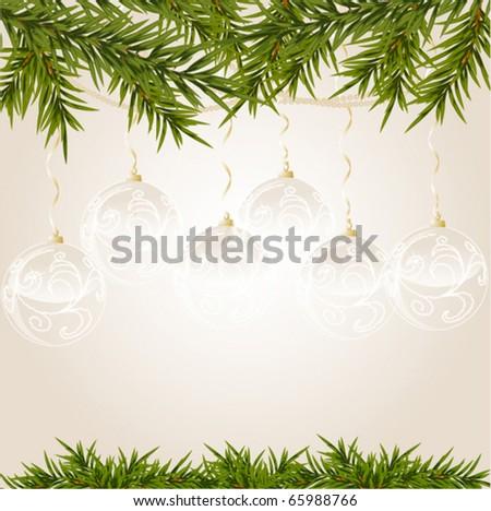 transparent Christmas ball on new year tree, vector illustration - stock vector
