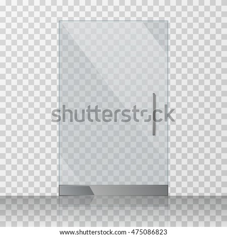 Transparent Clear Glass Door Isolated On Transparent Checkered Background Mock Up Entrance Door For Shop