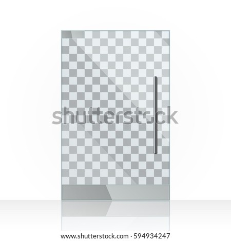 Transparent Clear Glass Office Or Shop Door Eps Vector