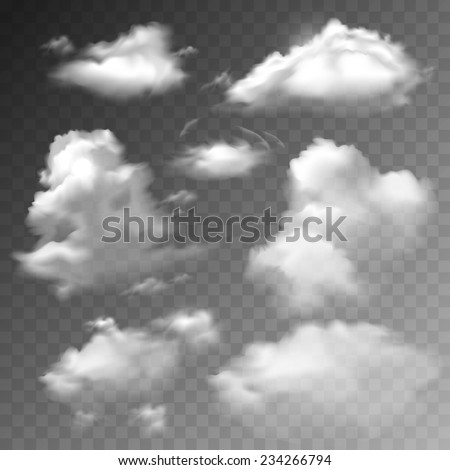Transparent clouds spring sunny weather cloudscape realistic set vector illustration - stock vector