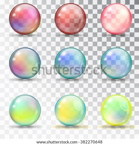 Transparent colored balls with overflow. Pearl bubbles. Set of soap bubbles. Transparent colored balls with overflow. Set of soap bubbles. glass balls. Vector bubbles on a transparent background - stock vector