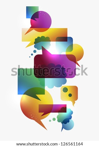 Transparent colorful communication speech bubbles set isolated over white background. EPS 10 vector illustration, cleanly built grouped and ordered in layers for easy editing. - stock vector