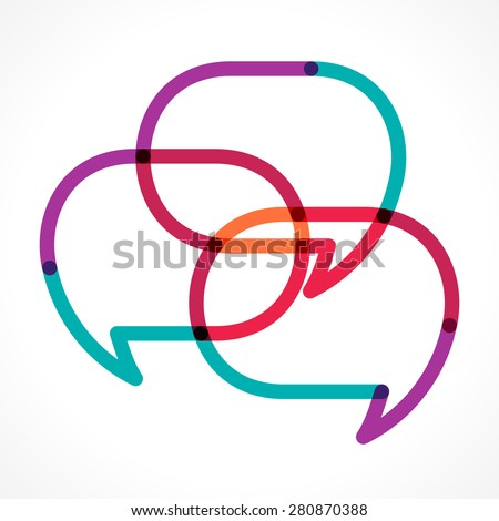 Transparent colorful linear three speech bubbles vector illustration. Overlapping, intersecting typographic elements - stock vector
