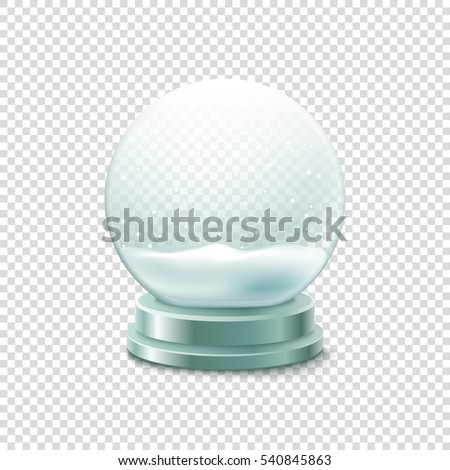 Transparent crystal ball with snow vector illustration. Christmas snow ball illustration