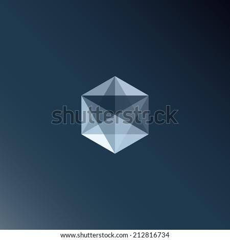 Transparent cube/hexagon element - stock vector