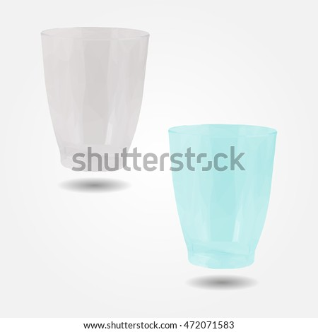 Transparent disposable plastic cup low resolution flat triangle polygon vector eps10