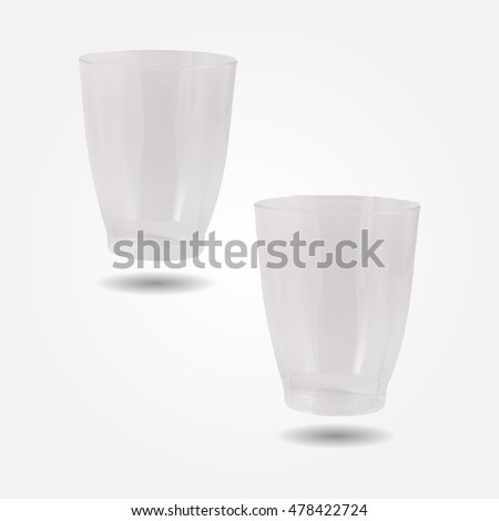 Transparent disposable plastic cups low and high resolution triangle mesh realistic vector eps10