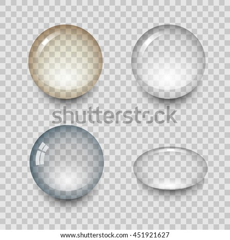 Transparent drops of water with shadow and reflection. Realistic set isolated vector illustration