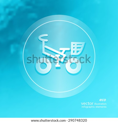 Transparent ecology  icon on the blurred  background. Bicycle.  Vector illustration - stock vector