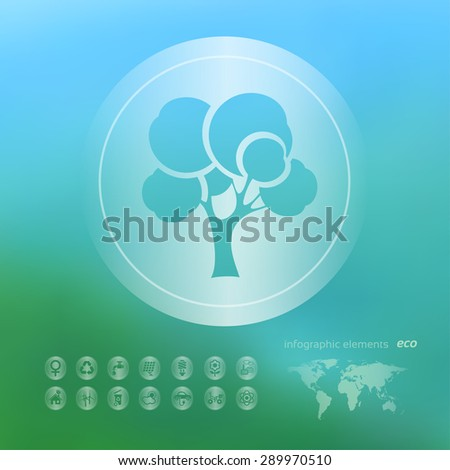 Transparent ecology  icon on the blurred  background. Forest tree. Vector illustration