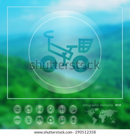Transparent ecology  icon on the blurred photo background. Bicycle.  Vector illustration - stock vector