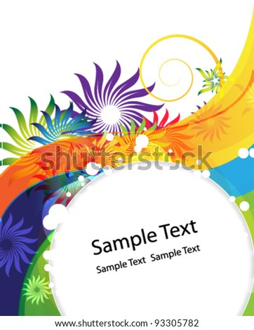 Transparent flowers silhouettes on a wavy rainbow background - stock vector