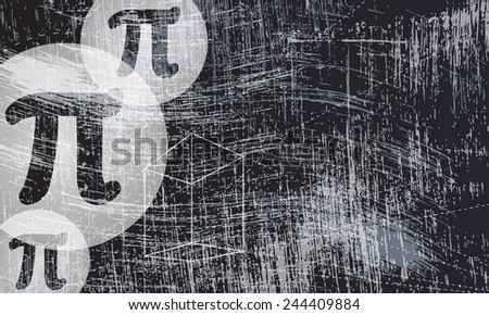transparent geometry objects and pi symbol and scratched background - stock vector