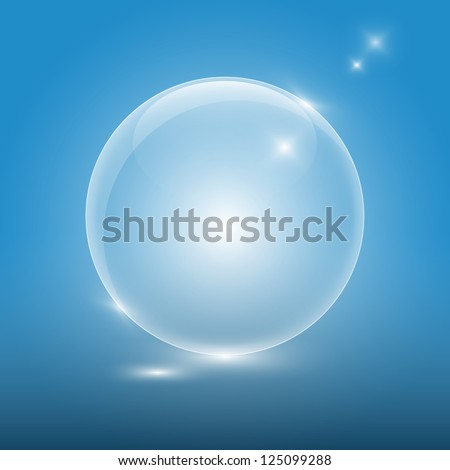 Transparent glass ball on blue background,eps10 - stock vector
