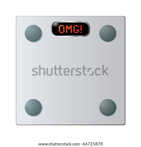 Transparent Glass bathroom scales with omg word on face