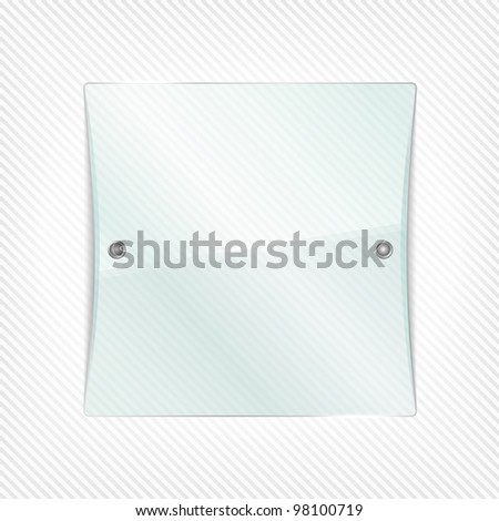 Transparent glass board on striped background, vector eps10 illustration - stock vector