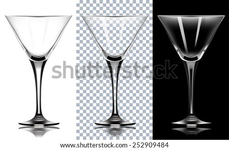 transparent glass for martini. Isolated On White and black Background. Vector Illustration. - stock vector