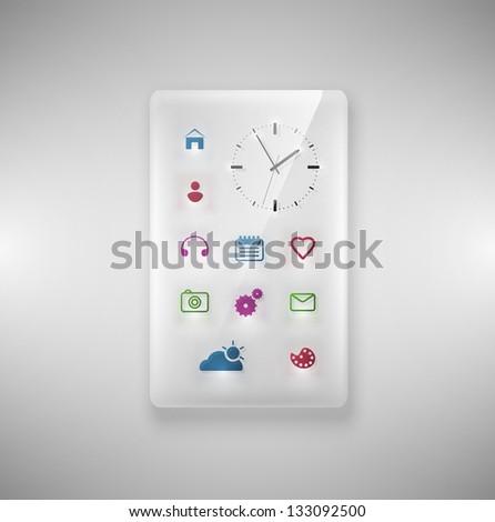 Transparent glass phone. Eps 10 - stock vector
