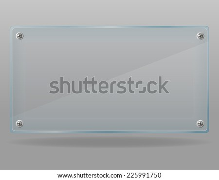 transparent glass plate vector illustration isolated on gray background - stock vector