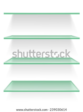 transparent glass shelf vector illustration isolated on white background