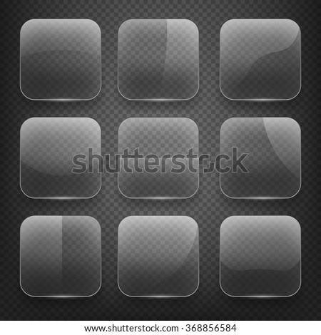 Transparent glass square app buttons on checkered background. Blank empty, shiny and glossy. Vector illustration icons set - stock vector