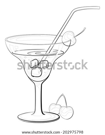 Transparent glass with drink, ice, cherry berries and straw, black contours isolated on white background. Vector - stock vector