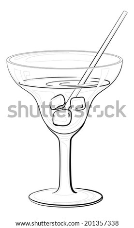 Transparent glass with drink, ice cubes and straw, black contours isolated on white background. Vector - stock vector
