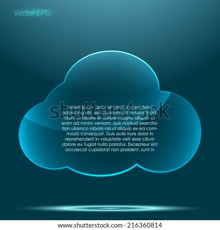 Transparent glossy glass cloud pattern symbol