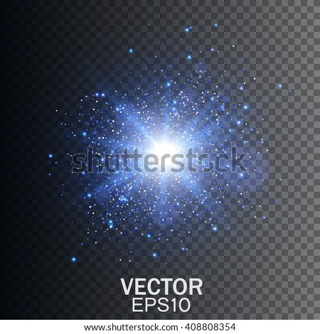 Transparent Glow light effect. Star burst with sparkles - stock vector