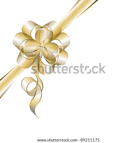 Transparent golden bow isolated on white, eps10 vector illustration - stock vector